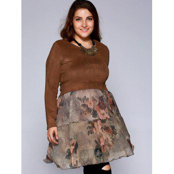 Oversized Ladylike Faux Suede Fabric Patchwork Blouse - CAMEL 4XL