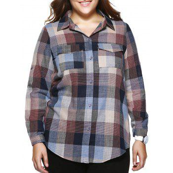 Oversized Casual Plaid Print Adjustable Sleeve Shirt