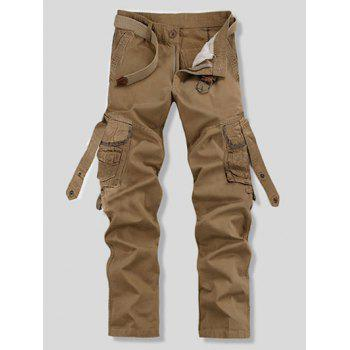 Stylish Loose Fit Solid Color Multi-Pocket Straight Leg Cotton Blend Cargo Pants For Men
