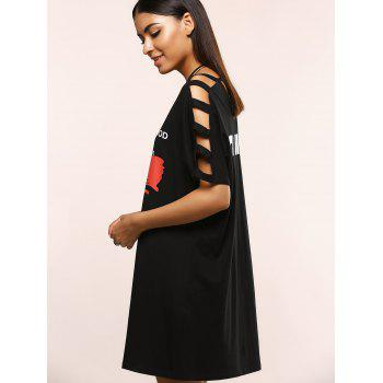 Hollow Out Letter Pattern Loose Dress - BLACK ONE SIZE