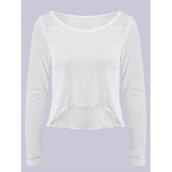 Fashional Scoop Neck Long Sleeve Pure Color Asymmetrical Women's T-Shirt