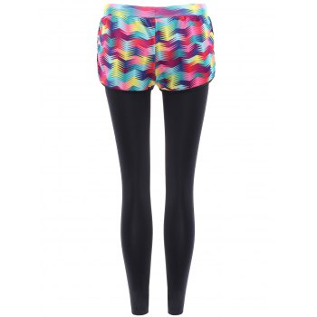 Stylish Faux Twinset High-Waisted Printed Women's Yoga Pants - COLORFUL S