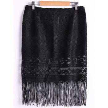 Lace Fringed High Waist Skirt For Women