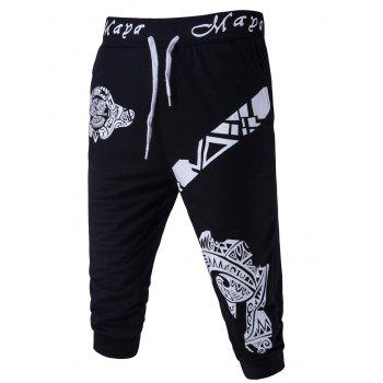 Men's Abstract Printed Solid Color Lace-Up Shorts