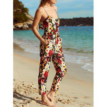 Women's Spaghetti Strap Floral Print Jumpsuit