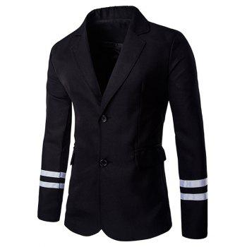 Stripe Cuffs Design Lapel Collar Long Sleeves Blazer For Men