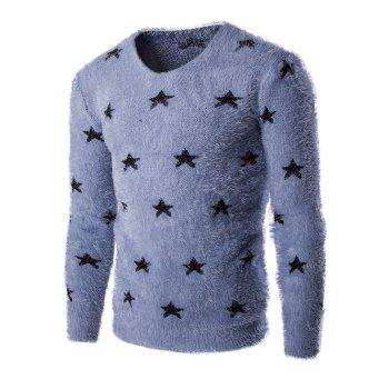 Fashionable V-Neck Long Sleeve Stars Mohair Sweater For Men
