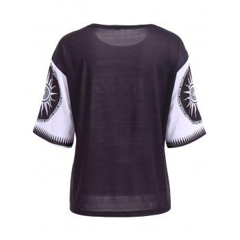 Casual Round Neck Short Sleeve Printed Women's T-Shirt - BLACK L
