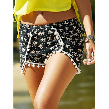Elastic Waist Fringed Printed Beach Shorts