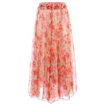 Trendy Elastic Waist Flower Pattern Women's Chiffon Skirt