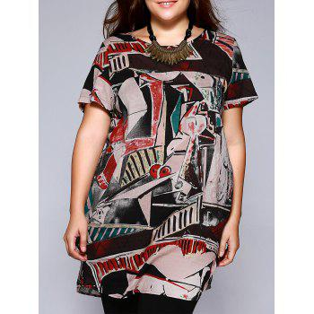 Plus Size Ethnic Abstract Pattern Baggy Blouse