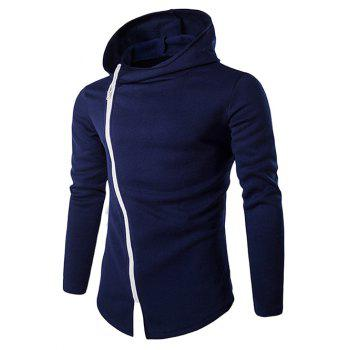 Stylish Diagonal Zipper Design Long Sleeves Hoodies For Men