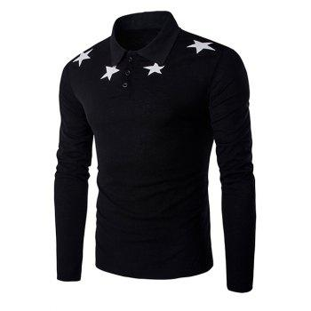 Claasic Turn-Down Collar Stars Print Long Sleeves T-Shirt For Men