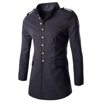 Shoulder Mark Classic Single Breasted Slim Fit Overcoat For Men