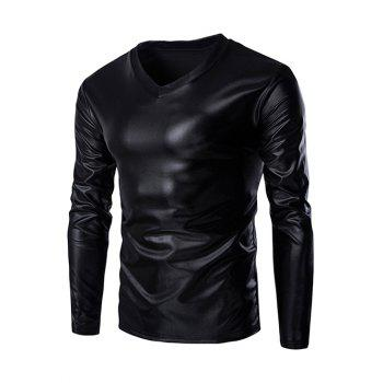 Fahionable V-Neck Long Sleeves Shiny T-Shirt For Men