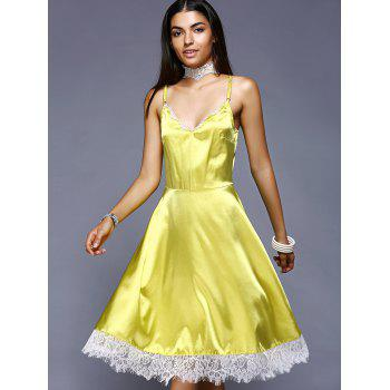 Stylish High Waisted Lace Splicing Cami Dress  For Women