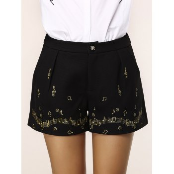 Chic Pocket Design Note Embroidery Women's Shorts