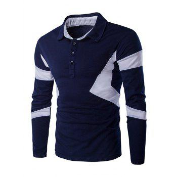 Color Spliced Turn Down Collar Long Sleeve Men's Polo Shirt