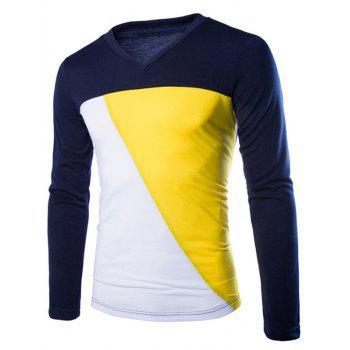 Color Splicing V-Neck Men's Long Sleeve T-Shirt