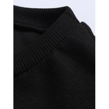 Ribbed Faux Leather Spliced Men's Long Sleeve T-Shirt - BLACK XL