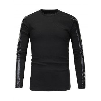 Ribbed Faux Leather Spliced Men's Long Sleeve T-Shirt