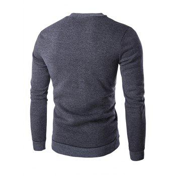 Quilting Faux cuir Splicing Zippered Men 's Sweatshirt - Gris M
