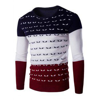 Color Spliced Round Neck Long Sleeve Men's Pullover Knitwear
