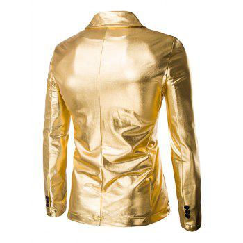 Solid Color Metallic Lapel Long Sleeve Single Breasted Men's Blazer - GOLDEN M