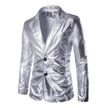 Solid Color Metallic Lapel Long Sleeve Single Breasted Men's Blazer