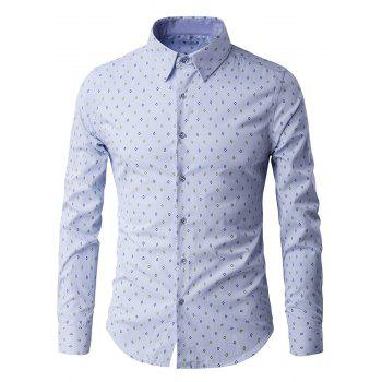 Geometric Print Turn Down Collar Long Sleeve Men's Shirt