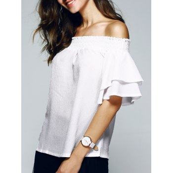 Nice Off The Shoulder Ruffle Sleeve PureColor Blouse