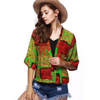 Collarless Floral Hit Color Print Short Kimono - COLORMIX L