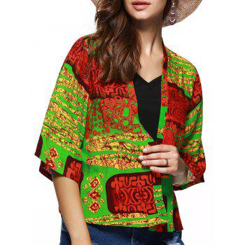 Collarless Floral Hit Color Print Short Kimono