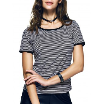 Ringe Pinstripe Print Slimming-Fitted T-Shirt