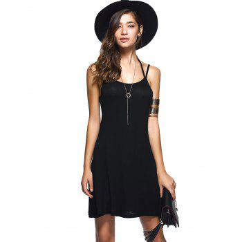 Spaghetti Strap Backless Casual Short Summer Dress - BLACK M