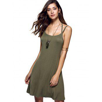 Spaghetti Strap Pure Color Backless Dress - Vert Armée S
