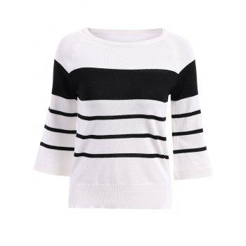 Brief Women's Round Neck Stripe 3/4 Sleeve Blouse