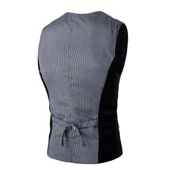 Gingham Spliced Buckle Back Men's Single Breasted Vest - XL XL