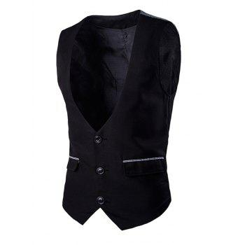 Gingham Spliced Buckle Back Men's Single Breasted Vest - BLACK BLACK