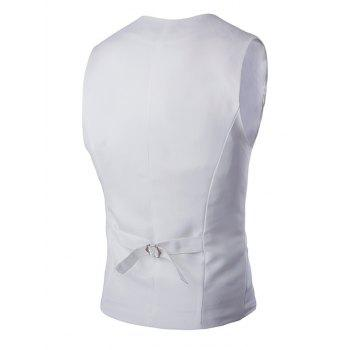 Buckle Back Solid Color Men's Double Breasted Vest - WHITE WHITE