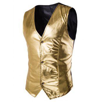s 'Single Breasted Vest Metallic Spliced ​​Men