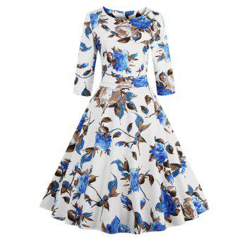 Retro Style High Waist Floral Print Women's Dress