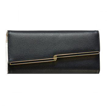 Fashionable Metal and Solid Colour Design Women's Wallet - BLACK