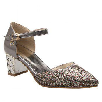 Buy Stylish Sequined Two-Piece Design Women's Pumps GUN METAL