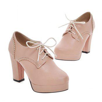 Vintage Platform and Tie Up Design Women's Pumps - PINK 39