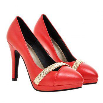 Chic Stiletto Heel and Metal Design Women's Pumps - RED 38