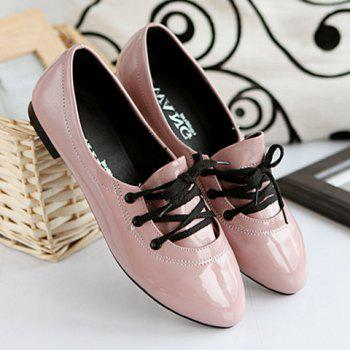 Stylish Solid Color and Tie Up Design Women's Flat Shoes - PINK 37
