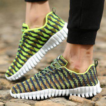 Stylish Colour Splicing and Tie Up Design Men's Athletic Shoes - NEON GREEN 40