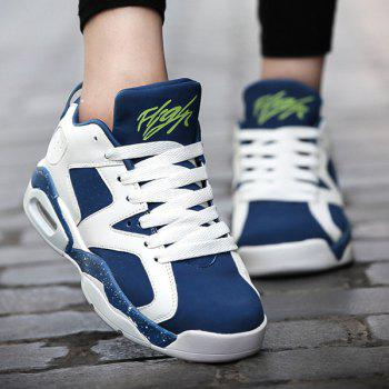 Stylish Breathable and Tie Up Design Men's Athletic Shoes - BLUE 42