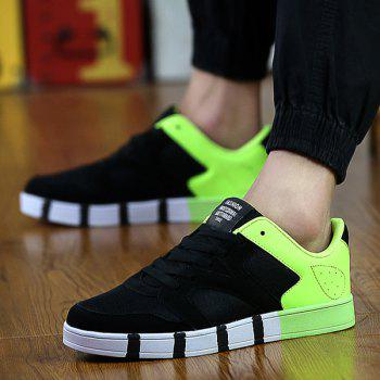 Fashionable Tie Up and Color Splicing Design Men's Casual Shoes - BLACK/GREEN 40